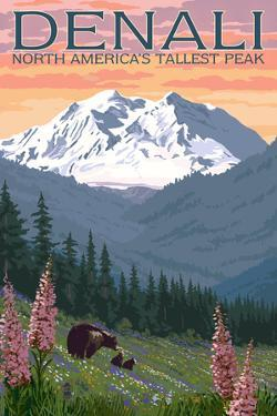 Denali, Alaska - North Americas Tallest Peak - Bears and Spring Flowers by Lantern Press