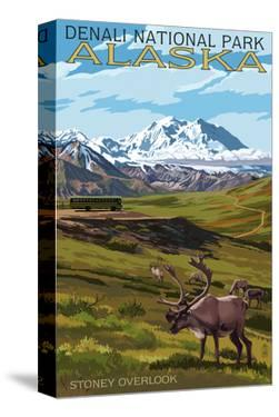 Denali National Park, Alaska - Caribou and Stoney Overlook by Lantern Press