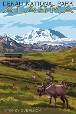 Denali National Park, Alaska - Caribou and Stoney Overlook by Lantern Press
