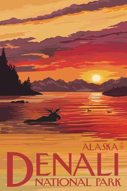 Denali National Park, Alaska - Moose at Sunset by Lantern Press
