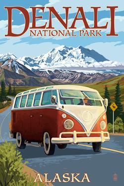 Denali National Park, Alaska - VW Van by Lantern Press