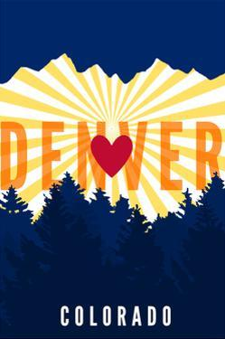 Denver, Colorado - Heart and Treeline (Vertical) by Lantern Press