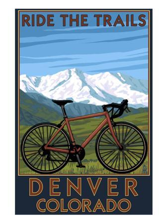 Denver, Colorado - Mountain Bike Scene by Lantern Press