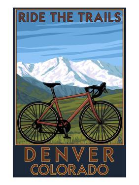 Denver, Colorado - Mountain Bike Scene by Lantern Press