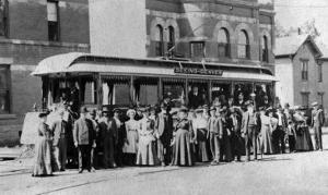 Denver, Colorado - Sightseeing Trolley with Crowd by Lantern Press
