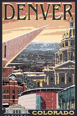 Denver, Colorado - Skyline View in Snow by Lantern Press