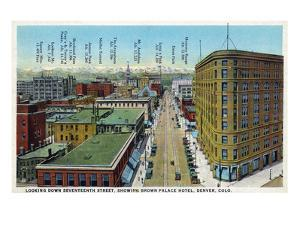 Denver, Colorado - View Down 17th Street Showing Brown Palace Hotel by Lantern Press
