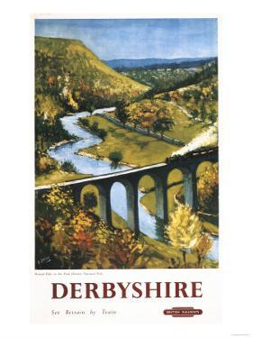 Derbyshire, England - Monsal Dale, Train and Viaduct British Rail Poster by Lantern Press