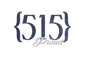 Des Moines, Iowa - 515 Area Code (Blue) by Lantern Press