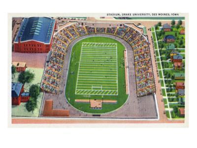 Des Moines, Iowa - Drake University; Aerial View of Stadium by Lantern Press