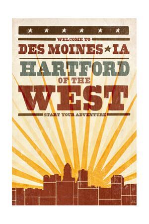 Des Moines, Iowa - Skyline and Sunburst Screenprint Style by Lantern Press