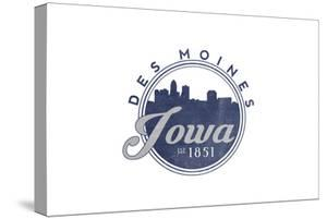 Des Moines, Iowa - Skyline Seal (Blue) by Lantern Press