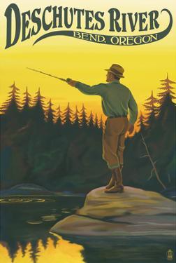 Deschutes River - Bend, Oregon - Fisherman Casting by Lantern Press