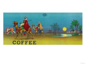 Desert Scene Coffee Label by Lantern Press