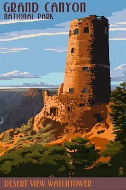 Desert View Watchtower - Grand Canyon by Lantern Press
