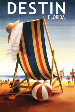 Destin, Florida - Beach Chair and Ball by Lantern Press
