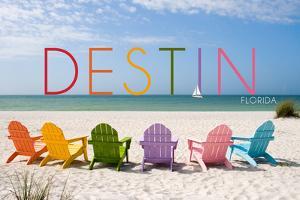 Destin, Florida - Colorful Beach Chairs by Lantern Press