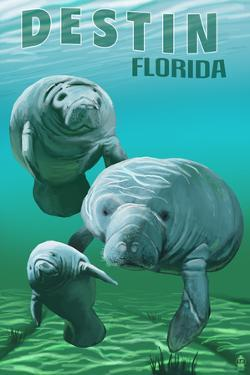 Destin, Florida - Manatees by Lantern Press