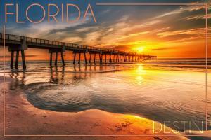 Destin, Florida - Pier and Sunset by Lantern Press