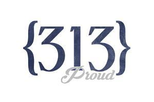 Detroit, Michigan - 313 Area Code (Blue) by Lantern Press