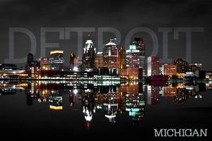 Detroit, Michigan - City at Night by Lantern Press
