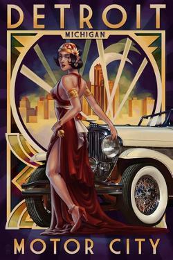 Detroit, Michigan - Deco Woman and Car by Lantern Press