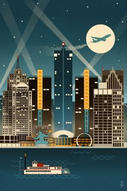 Detroit, Michigan - Retro Skyline (no text) by Lantern Press