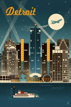 Detroit, Michigan - Retro Skyline by Lantern Press