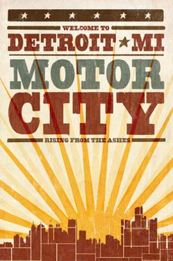 Detroit, Michigan - Skyline and Sunburst Screenprint Style by Lantern Press