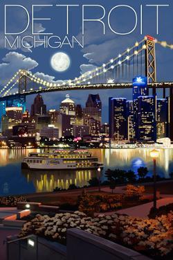 Detroit, Michigan - Skyline at Night by Lantern Press