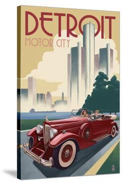 Detroit, Michigan - Vintage Car and Skyline by Lantern Press