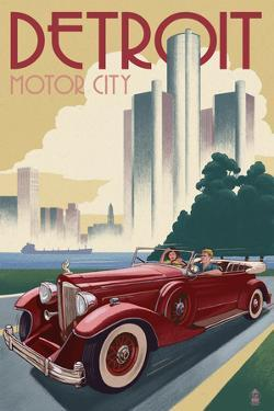 Detroit, Michigan - Vintage Car and Skyline by Lantern Press