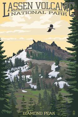 Diamond Peak - Lassen Volcanic National Park, CA by Lantern Press