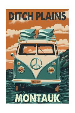 Ditch Plains - Montauk , New York - Letterpress by Lantern Press