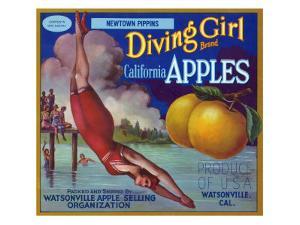 Diving Girl Brand Apple Label, Watsonville, California by Lantern Press
