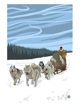 Dogsledding Scene by Lantern Press