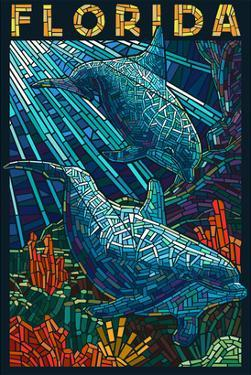 Dolphin Paper Mosaic - Florida by Lantern Press