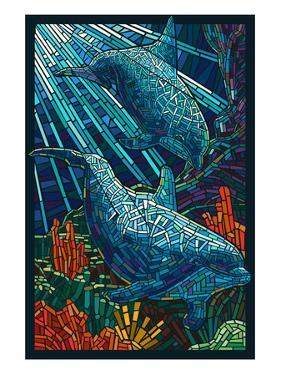 Dolphin - Paper Mosaic by Lantern Press