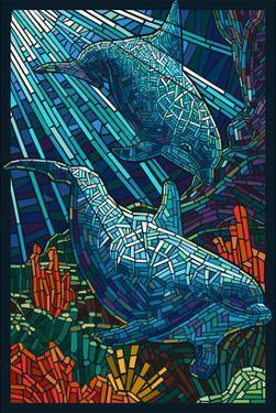 Dolphin - Paper Mosaic by Lantern Press