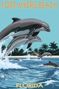 Dolphins Jumping - Fort Myers Beach, Florida by Lantern Press