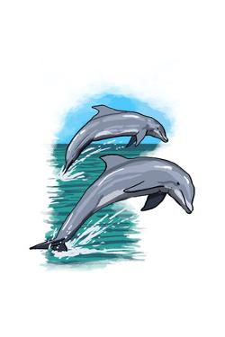 Dolphins Jumping - Icon by Lantern Press