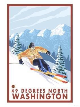 Downhhill Snow Skier, 49 Degrees North, Washington by Lantern Press