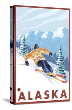 Downhhill Snow Skier, Alaska by Lantern Press