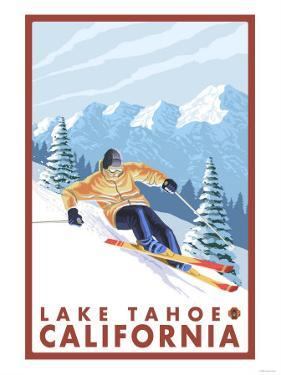 Downhhill Snow Skier, Lake Tahoe, California by Lantern Press