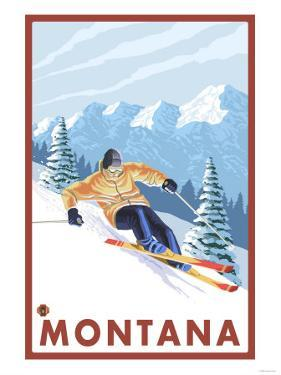 Downhhill Snow Skier, Montana by Lantern Press