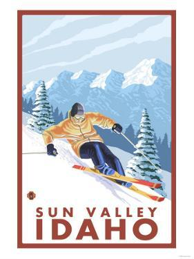 Downhhill Snow Skier, Sun Valley, Idaho by Lantern Press