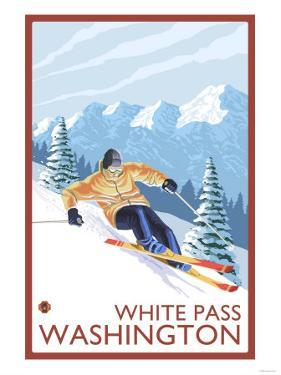 Downhhill Snow Skier, White Pass, Washington by Lantern Press