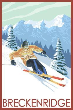 Downhill Skier - Breckenridge, Colorado by Lantern Press