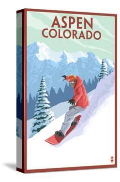 Downhill Snowboarder - Aspen, Colorado by Lantern Press