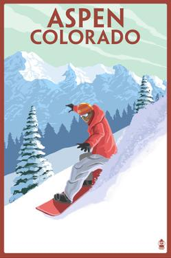 Downhill Snowboarder - Aspen, Colorado by Lantern Press